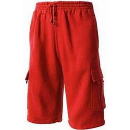 Ma Croix Men's Comfort Fleece Cargo Sweat Shorts With Drawstring, Size: 3XL, Red