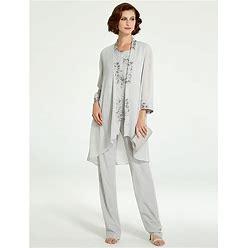 Pantsuit / Jumpsuit Mother Of The Bride Dress Plus Size Elegant Bateau Neck Floor Length Chiffon Lace Sleeveless With Ruffles 2021 Sage US 6 / UK 10 /