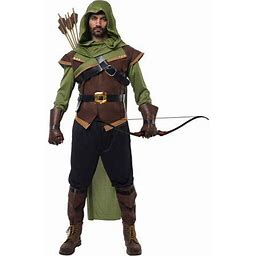 Renaissance Robin Hood Deluxe Men Costume Set Made Of Leather For Halloween Dress Up Party, Adult Unisex, Size: Large