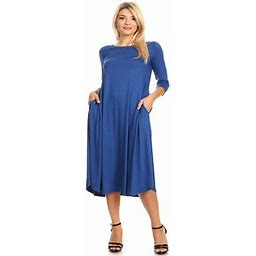 Moa Collection Women's Solid Print Casual Comfy Relaxed Fit Knee Length 3/4 Sleeves Pockets Midi Dress, Size: Large, Blue