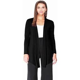Moa Collection Women's Solid Basic Open Draped Front Long Sleeve Relaxed Cardigan Sweater / Made In USA, Size: 3XL, Black