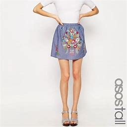 Asos Skirts   Asos Tall Skirt Chambray With Bright Embroidery   Color: Blue   Size: 4