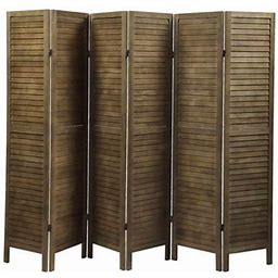 Jaxpety 67 Inch High 6 Panel Room Divider Sycamore Wood Louver Folding Privacy Partial Partition Screen For Home Bedroom, Brown
