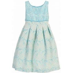 EASTER Angels Garment Girls Turquoise Jacquard Box Pleats Dress 7, Girl's, Blue