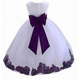 Ekidsbridal Wedding Pageant Rose Petals White Tulle Flower Girl Dress Toddler Special Occasion 302T Purple 12, Toddler Girl's