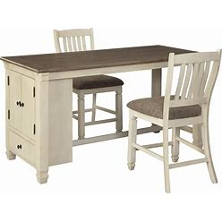 Signature Design By Ashley Bolanburg Antique White/Brown 3 Piece Rectangular Counter-Height Dining Set With Upholstered Barstools