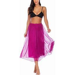 Lelinta Women Full Length Elastic Pleated Retro Maxi Chiffon Long Skirt, Women's, Size: Large, Purple