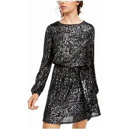Crystal Dolls Womens Black Sequined Long Sleeve Jewel Neck Short Fit + Flare Evening Dress Size XS, Women's