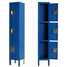 Metal Locker Steel Storage Locker With 3 Door 3 Tier Personal For Home Office School Gym Cabinet,Blue
