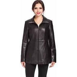 Bgsd Women's Becca Lambskin Leather Jacket (Regular & Plus Size), Size: 3XL, Black