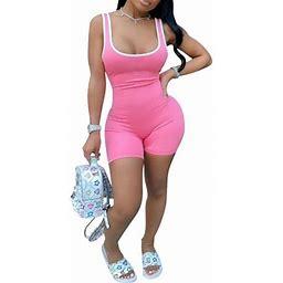 Mlpeerw Women Jumpsuit U-Neck Sleeveless Jumpsuit Bodysuit, Women's, Size: Medium, Pink