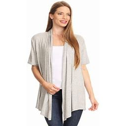 Moa Collection Women's Basic Casual Solid Short Sleeve Open Front Cardigan (s-3x) Made In USA, Size: 3XL, Gray