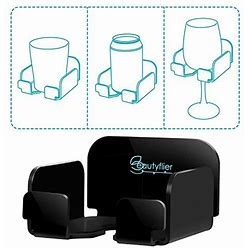 Beautyflier Shower Beer Holder Wine Glass Holder Bath And Shower Acrylic Cupholder For Wine, Beer, Coffee And Beverage Bathtub Drink Holder (Black)