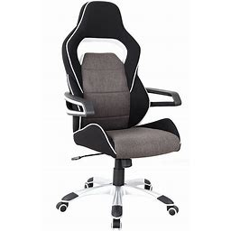 Techni Mobili Ergonomic Upholstered Racing Style Home & Office Chair, Grey