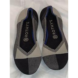 Rothys Black Captoe Us 8.5 Round Toe Shoe Flat Knit Classic Ballet