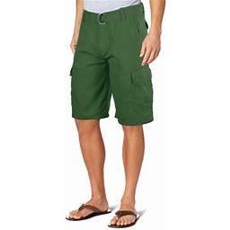 Ma Croix Men's Premium Multi Cargo Twill Cargo Shorts With Belt, Size: 32, Green