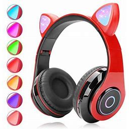 Eeekit Bluetooth Headphones Wireless Over Ear Cat Ear Headphones With LED Light Foldable Built-In Microphone Headset Fit For Cell Phones/Iphone/Ipad/