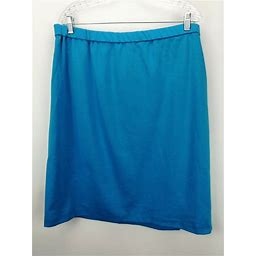 Joan Rivers Ponte Knit Pull-on Slim Skirt Turquoise 1x A235382