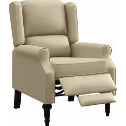Copper Grove Cale Linen Wingback Push Back Recliner Chair