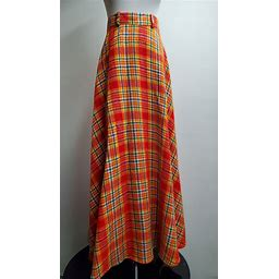 Vintage Womens Plaid Wool Skirt- 1960s/70s- Lane Bryant Tall Shop- Size Small- Long Skirt- Orange And Red Plaid- Scottish-