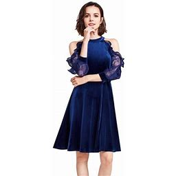 Ever-pretty Women's Cold Shoulder Long Sleeve Velvet Wedding Guest Evening Party Dresses For Women 5896 Blue US 10