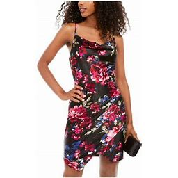 Bcx Womens Black Floral Spaghetti Strap Square Neck Short Body Con Cocktail Dress Size 7, Women's