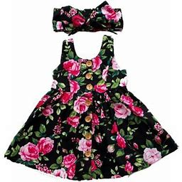 Baby Girl Floral Dress Party Wedding Pageant Formal Dresses Sundress Clothes, Infant Girl's, Size: 3-4 Years, Black