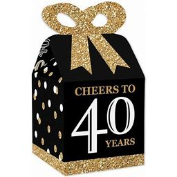 Adult 40th Birthday - Gold - Square Favor Gift Boxes - Birthday Party Bow Boxes - Set Of 12, Adult Unisex, Size: Small