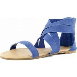 Top Moda Peak-3 Royal Blue Criss Cross Casual Flat Sandals, Blue, 5.5 B(m) US, Women's