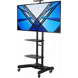 Yaheetech Adjustable Mobile TV Stand With Mount Rolling TV Cart For 32'-65'Lcd/Led Flat Screens Metal TV Stand With Wheels And 3-Tier Shelves, Size:
