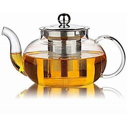 Glass Teapot With Stainless Steel Infuser & Lid, Borosilicate Glass Tea Pots Stovetop Safe, 27 Ounce / 800 Ml, Clear