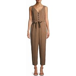 Time And Tru Women's Sleeveless Linen Jumpsuit With Tie Belt