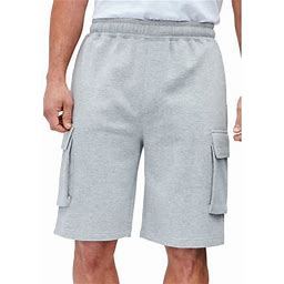 Kingsize Men's Big & Tall Fleece 10 Inch Cargo Shorts, Size: Big - 9XL, Gray