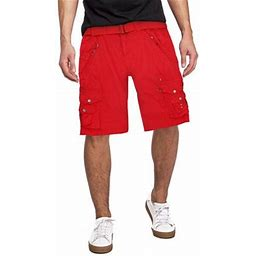 T Crew Men's Belted Casual Cotton Multi Pocket Cargo Shorts With Metal Embellishments (Red, 29)