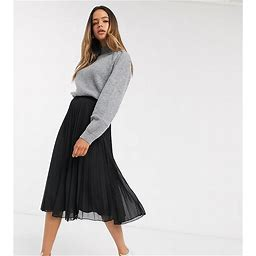 ASOS DESIGN Tall Pleated Midi Skirt In Black - Black (size: 10)
