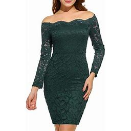 Vista Women's Off Shoulder Lace Dress Long Sleeve Bodycon Cocktail Party Wedding Dresses, Size: Small, Green
