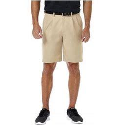 Haggar Men's Cool 18 Pro Pleat Front Shorts Regular Fit Hs00439, Size: 40, Beige