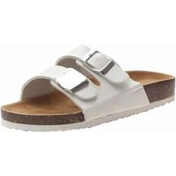 Lowestbest Sandals For Women, 005wh41ns Women's Light Weight Double Buckles Slide Sandal, White Summer Beach Soft Adjustable Buckle Flat Open Toe