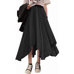 Zanzea Women's High Waist Solid Pleated Skirts Maxi Long Skirt Beach Baggy Dress, Size: Large, Black