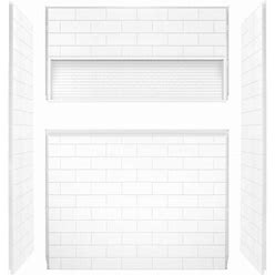 Mansfield Nextile White Panel Kit Shower Wall Surround (60-In X 30-In) | LOW-5100-00