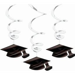 Graduation Foil Swirl White Decorations (Each), Size: One Size