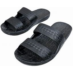 Imperial Sandals Hawaii Rubber Double Strap Jesus Sandals By Imperial Hawaii For Women Men And Teens (Womens Size 9, Mens Size 7. Black), Adult Unisex