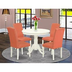 Wayfair Pamala 5 - Piece Solid Wood Rubberwood Dining Set Wood/Upholstered Chairs In White, Size 30.0 H X 36.0 W X 36.0 D In