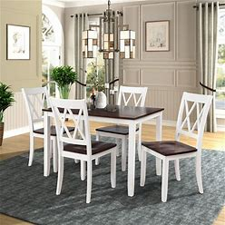 5-Piece Dining Table Set Home Kitchen Table And Chairs Wood Dining Set - White