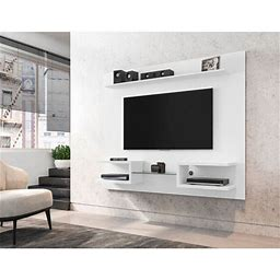 Manhattan Comfort Plaza 64.25 Modern Floating Wall Entertainment Center With Display Shelves In White, Size: 50, Beige