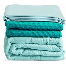 Gymax 20 Lbs Heavy Weighted Blanket 3 Piece Set W/ Hot & Cold Duvet Covers 60'X80' Green