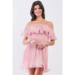 CC Wholesale Clothing Pink Pleated Off-The-Shoulder Double Layered Frill Trim Mini Dress S, Women's, Size: XS