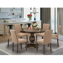 East West Furniture Dining Set Consists Of A Dining Table And Light Sable Fabric Upholstered Chairs - Distressed Jacobean Finish - F3AB7-747