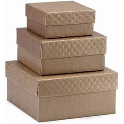 1 Set, Solid Matte Toffee Embossed Nested Boxes Small 3 Piece Square Gift Boxes W/White Interiorsfor Occasion & Christmas, Brown