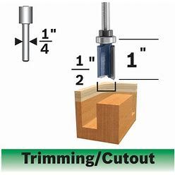 Bosch 1/2 In. X 1 In. Carbide-Tipped Double-Flute Top-Bearing Straight Trim Router Bit   85680MC